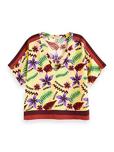 Scotch & Soda Maison Damen Blumen-Print Bluse, Mehrfarbig (Combo D 0220), Medium (Herstellergröße:M)