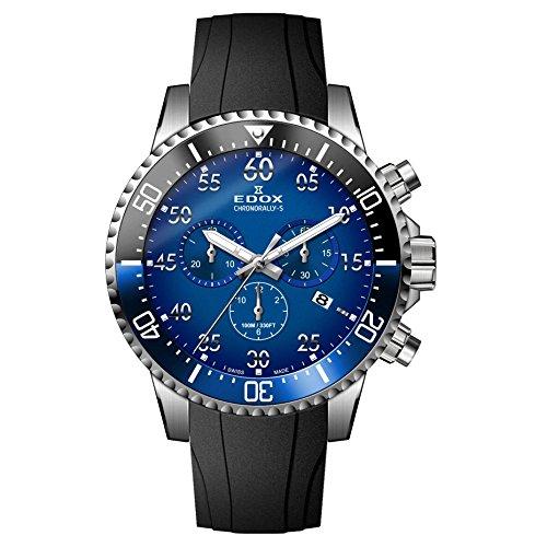 Edox Reloj Cronógrafo para Hombre de Cuarzo con Correa en Caucho 10227-3NBUCA-BUBN