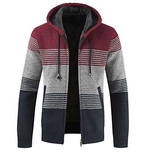 BEIXUNDIANZI Strickjacke Herren Pullover Bluse gestreiften Windbreaker dicken Reißverschluss warmen Hoodie Outwear Oberteile Mäntel Winter Herbst Mantel ZZ-Red L