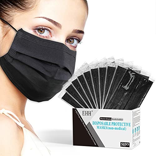 Black Disposable Face Mask, Individually Wrapped, Face Masks for Men Women Adult, Breathable & Comfortable, 3- Ply, with Adjustable Nose Wire & Elastic Ear Loop (50 Pcs), Black