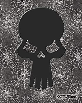 Sketchbook  Cool Skull and Spiderweb Blank Unlined Drawing Sketch Pad
