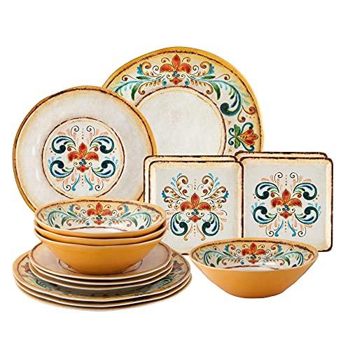 UPware 16-Piece Melamine Dinnerware Set, Includes Dinner Plates, Salad Plates, Dessert Plates, Bowls, Service for 4. (Tuscany)