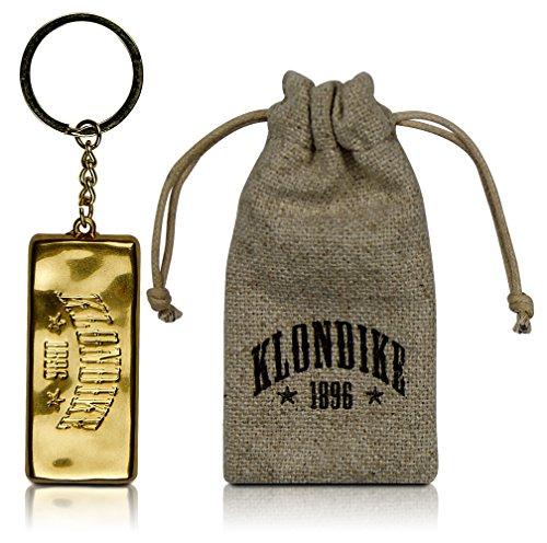 Klondike 1896 Goldbarren Schlüsselanhänger 'Knox' für Damen und Herren, Goldbarren Imitat inkl. Jutebeutel, Gold