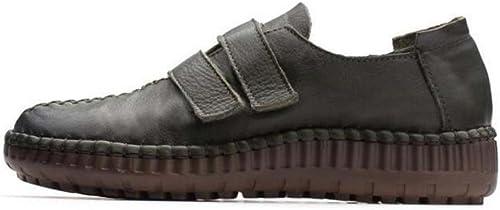 Femmes Pompe Bout Bout Bout Rond Velcro Plat Talon Chaussures Décontractées Confortable Couleur Pure Splice Cour Chaussures Mère Chaussures Eu Taille 35-40 d17