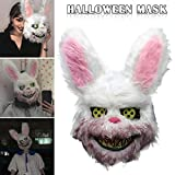 Wodeni White Bunny Rabbit Bloody Mask Creepy Scary for Halloween Party Costumes Cosplay