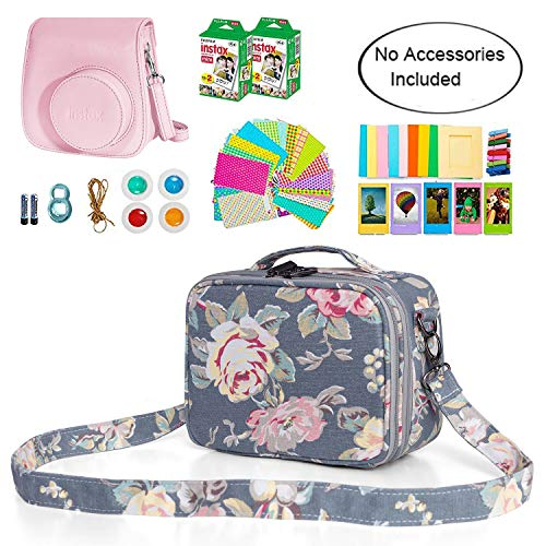 Teamoy Camera Case Compatible with Fujifilm Instax Mini 9, Travel Carrying Storage Bag for Instant Camera and Accessories, Peony(Bag Only)