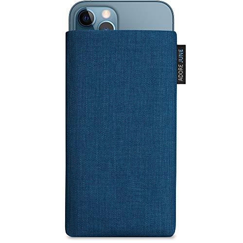 Adore June Classic Ozean-Blau Tasche kompatibel mit iPhone 13 / iPhone 13 Pro/iPhone 12 / iPhone 12 Pro Handytasche aus beständigem Cordura Stoff mit Bildschirm Reinigungs-Effekt, Made in Europe