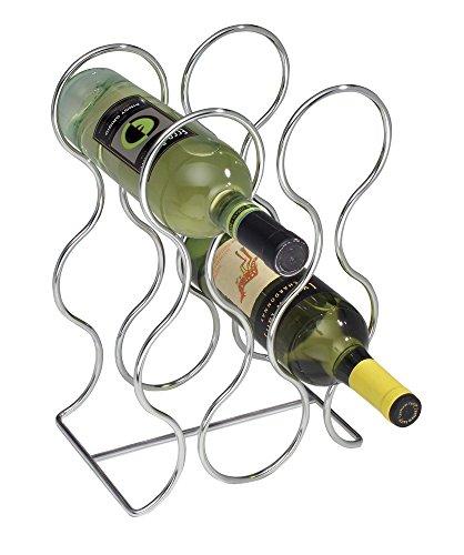 mDesign Botellero para Vino para 6 Botellas – Botellero metálico con aleación de Cromo – Moderno Estante para Botellas para Cualquier Cocina – Soporte para Botellas de Distintos tamaños