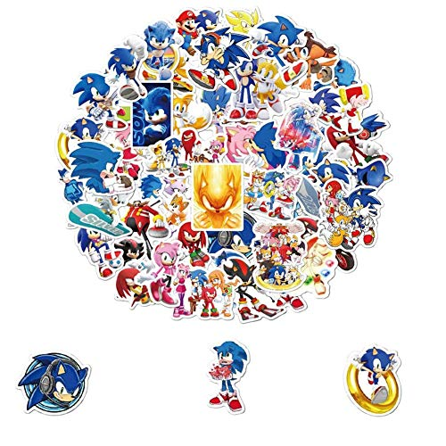 REYOK Sonic The Hedgehog Aufkleber Cartoon Sonic The Hedgehog Aufkleber für Kinder niedliche für Laptops Hydroflaschen Wasserflaschen Computer Handy Auto Gepäck Fahrrad Wandaufkleber
