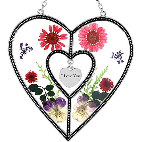 KY&BOSAM I Love You Suncatchers Saint Valentine`s Day Love Heart Love Suncatchers with Pressed Flower Heart - Heart Suncatcher - Love Gifts Gift for Love's Day…