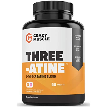 Crazy Muscle Creatine Pills - Keto Friendly Muscle Builder - 1,667 mg Tablets (138% + More Than Capsules) - Over 5 Grams of Monohydrate, Pyruvate + AKG - Optimum Strength Bodybuilding Supplements