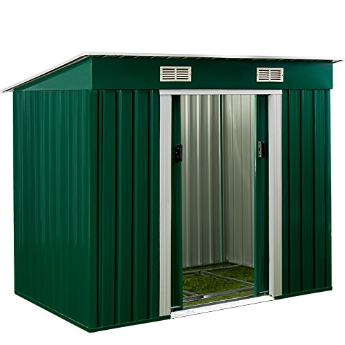 Abri de jardin en métal / Cabane à outils / avec fondation et ventilation - Vert
