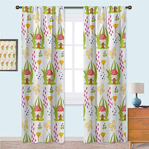 Aishare Store Rod Pocket Curtains Spring Forest Toadstool House Cartoon Pattern Kids Fictional Fairytale Image Art Curtains for Girls Bedroom 52' x 84' Multicolor