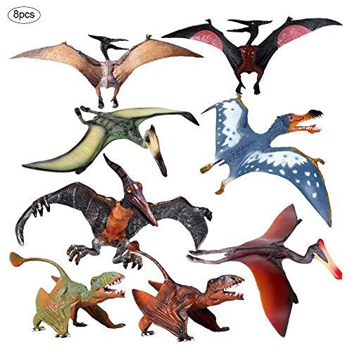 Juego de 8 figuras de dinosaurios de Pterodactyl, figuras de dinosaurio realistas, regalo perfecto para niños