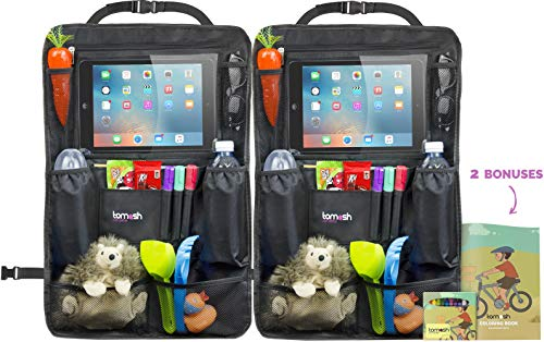 Backseat Organizer with Tablet Holder - Adjustable Straps for Universal Fit - Insulated Drink Pouches, Storage Pockets for Books, Snacks, Wipes - Car Organizer for Kids & Toddlers by Tomash, 24x16.5""