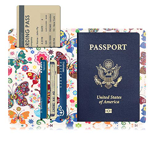 QYiD Passport Holder Cover, Travel Leather RFID Blocking Wallet para Passport, Mariposa
