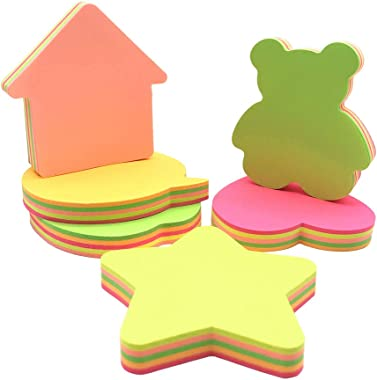Sticky Notes, Self-Stick Removable Shaped Sticky Notes - 14 Pads - 100 Sheets 6 Pad Shaped Notes -20 Sheets 8 Pad Animal Notes(14 Pack)