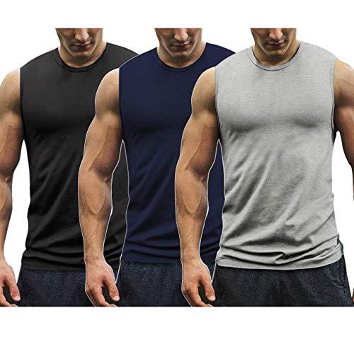 Burlady Tank top 3er Pack Herren Achselshirt Unterhemd Tanktop Fitness Tops Gym Weste ärmellos Sportswear Quickdry Muscle-Shirt Herren Funktion Oberhemd