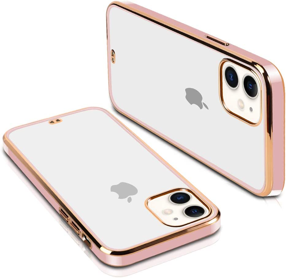 SOKAD iPhone 11 Case, Clear Soft TPU Plating Bumper Anti-Scratch Shockproof Protective Case Cover for iPhone 11 6.1 Inch 2019 (Cherry Blossom Powder)
