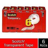 3M 600K6 Transparent Glossy Tape 3/4 x 28 Yards 1 in.Core Clear Six per Box