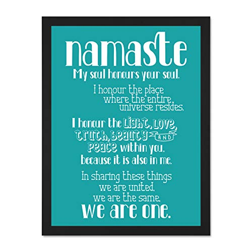 Doppelganger33 LTD Quote Typography Text Namaste Blueboard Definition Large Framed Art Print Poster Wall Decor 18x24 inch Supplied Ready to Hang
