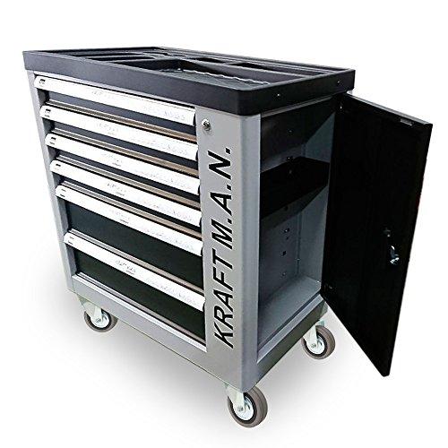 Carro de taller profesional con herramientas 245pzs incorporadas, con ruedas, armario lateral, cierre de seguridad en cada cajón y una cerradura centralizada con llave.