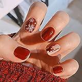 Brishow Unghie finte Natale Unghie finte corte Alce delle nevi Stampa acrilica sulle unghie Copertura completa Stick sulle unghie 24 pezzi per donne e ragazze