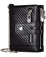 Chain Wallets for Men RFID Blocking Leather Bifold Zipper Black With Coin Pocket