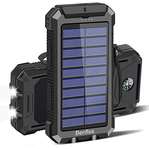 Solar Charger, 30000mAh Benfiss Solar Power Bank Portable External Large Capacity Backup Battery with Type-C Ports & LED Flashlight & Compass Waterproof for Camping Outdoor