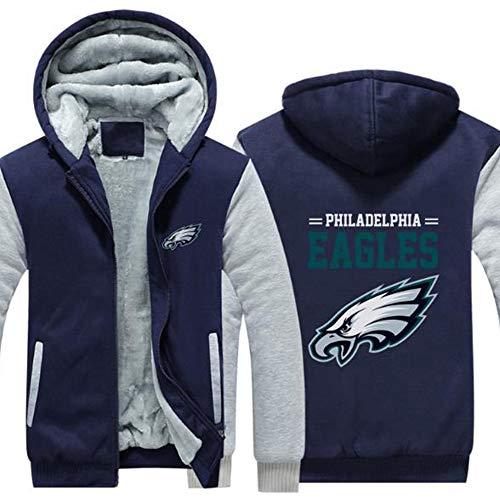 LCY Männer NFL Hoodies - Philadelphia Eagles Football Fans Langarm Eindickung beiläufige Reißverschluss Jersey Sweater,C,3XL