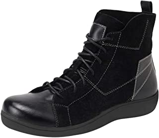 Women's Combat Style lace up Ankle Bootie, Women's Arch Support Casual High-top Sneakers Leather Boots Comfy