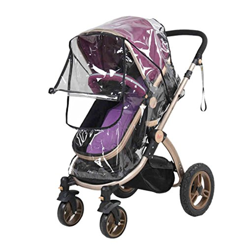 Universal Stroller Raincover Waterproof Windproof Pushchair Pram Stroller Buggy Rain Cover with Canopy and Zipper Opening Rain Weather Shield Protector for Baby Outdoor Activities Travel