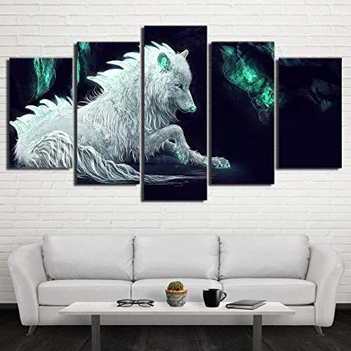 XIAOJIJI wandkunst schilderijen wandschilderij zonder lijstjes sproeischilderij olieverfschilderij vijf canvas schilderij wolf abstract wandschilderij Home Decoration Canvas schilderwerk 20*30cm*2 20*40cm*2 20*50cm*1(cm) Frameloos