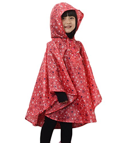 Comfysail Kinder Mädchen Stern Regenmantel Regenponcho Regenjacke mit Kapuze Wasserdicht Regencape Softshelljacke