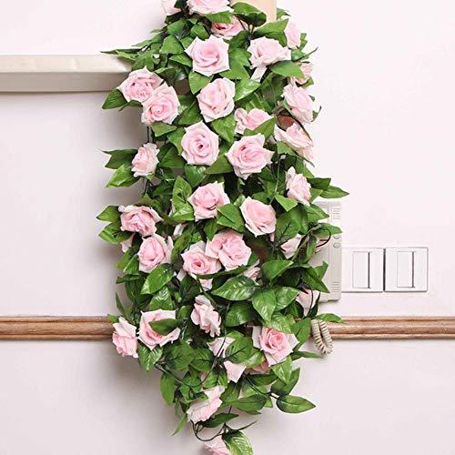 Kunstbloemen 2.4m Zijden Doek Rozenwijnstok met Groene Bladeren voor Thuis Bruiloft Decoratie Nepbloemen Blad DIY Hangende Garland, Lichtroze, Verenigde Staten