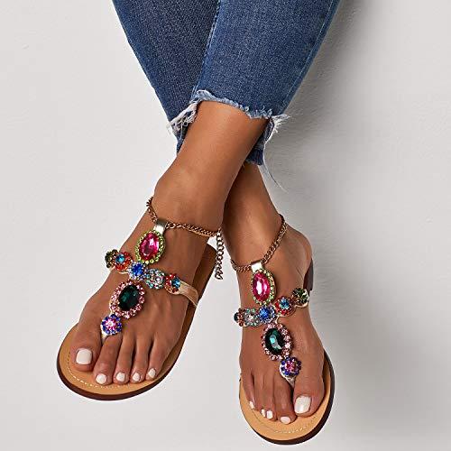Q&Z Sandalias Mujer Clip Toe Verano Moda Bohemia Zapatos De Planos Sandalias De Punta Abierta con PedreríA Cadena Chanclas De Damas Colorido,38