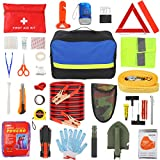 GEARONIC Car Emergency Kit with Jumper Cables-19.68 ft, Car EssentialsAutomotive Roadside Emergency Car Kit with Car Safety kit, Roadside AssistanceKitswithShovel, Tow Strap, Blanket, Triangle