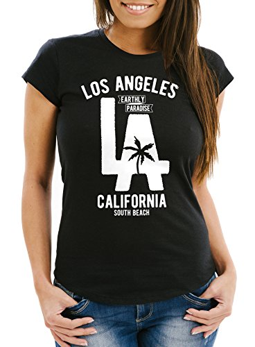 Neverless Damen T-Shirt Los Angeles California LA Palme Slim Fit schwarz S