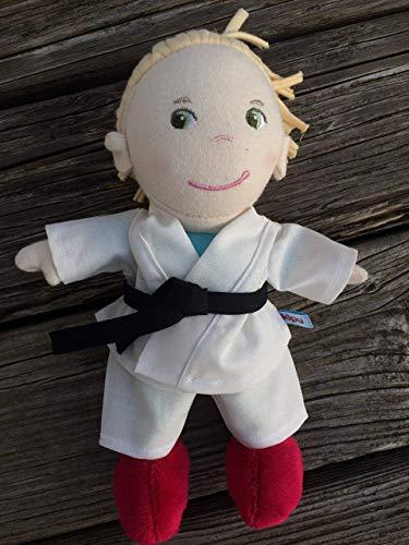 Puppenkleidung handmade Karate Anzug passend für kleine Puppen Gr. 20 cm Gi Judo Aikido Teakwondo Stoff-Puppe