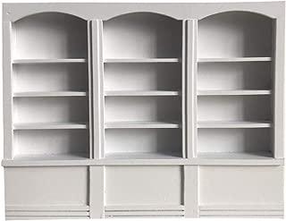 Maikouhai Miniature European-Style Bookcase 1:12 Mini Dollhouse Doll House Living Room Bedroom Decor Mini Wooden Book Shelf Case, 22.9x2.7x17.7cm (White)