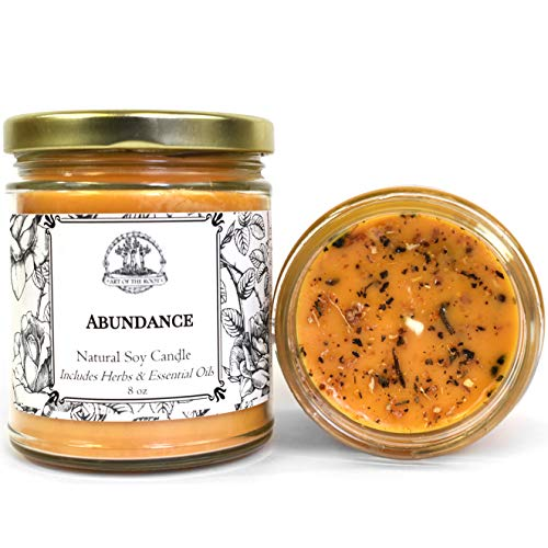 Abundance 8 oz Soy Herbal Spell Candle for Prosperity, Good Fortune & Success (Wiccan, Pagan, Hoodoo, Magick)