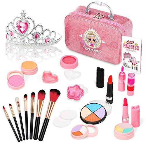 Jojoin Maquillage Enfant Jouet Fille, 22PCS Coffrets Pinceaux De Maquillage Noir Doré avec Couronne de Princesse, Cadeau de Noël Anniversaire de Princesse de Petites Filles de 5 6 7 8 9 Ans (Lavable)