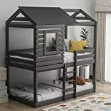 Twin Over Twin Bunk Bed with Roof, Wooden House Bed with Window, Guardrail, Ladder for Kids, Teens, Girls, Boys (Gray)