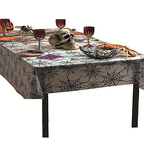 Mantel de Halloween Rectangular Impermeable a prueba de derrames Halloween Negro Tela de araña Mantel Lavable PVC Tablero de mesa para cenas de Halloween Decoraciones para fiestas Decoración de mesa