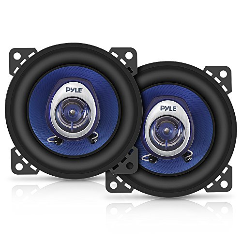 4 Car Sound Speaker (Pair) - Upgraded Blue Poly Injection Cone 2-Way 180 Watt Peak w/ Non-fatiguing Butyl Rubber Surround 110 - 20Khz Frequency Response 4 Ohm & 3/4 ASV Voice Coil - Pyle PL42BL