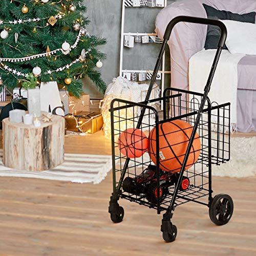 Goplus Carrito plegable de la compra, carrito de la compra Dolly, con doble cesta, ruedas giratorias, ideal para la colada, libro de equipaje, viaje, color negro