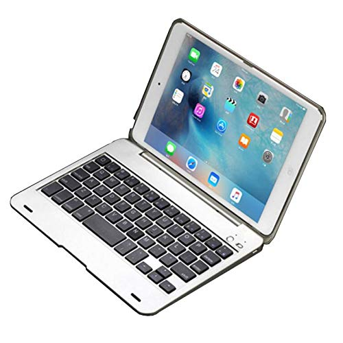 RZL Pad y Tab Fundas Funda del Teclado para iPad MI-NI 4, Funda de Teclado inalámbrico Bluetooth para iPad MI-NI 4 A1538 A1550 (Color : Silver)