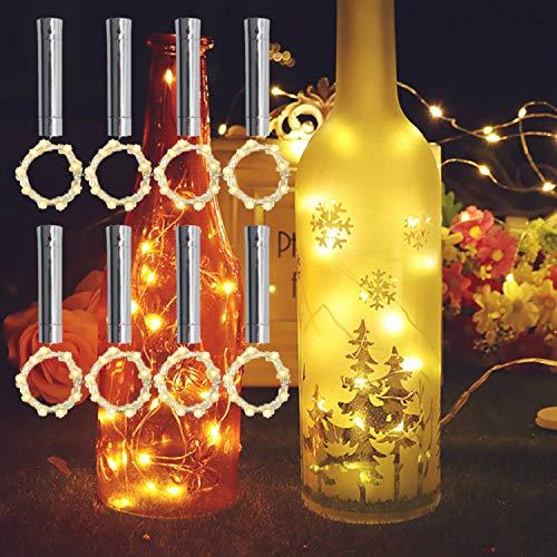 TYXSHIYE - 8 tapones de corcho con cadena de luces LED de color blanco cálido, 2 m, 20 ledes, pilas AA, siempre iluminadas, botellas de vino, luz de corcho, luz para botellas, fiestas, bodas, Navidad