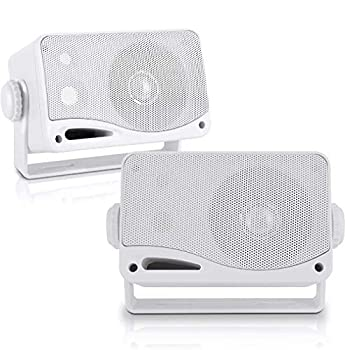 3-Way Weatherproof Outdoor Speaker Set - 3.5 Inch 200W Pair of Marine Grade Mount Speakers - in a Heavy Duty ABS Enclosure Grill - Home Boat Poolside Patio Indoor Outdoor Use - Pyle PLMR24  White