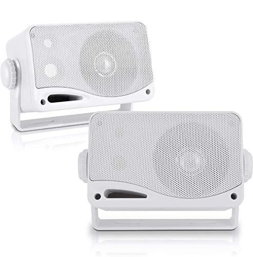 Pyle Wasserdichte Lautsprecher 3.5-Zoll-200-Watt 3-Wege Wetterfeste Mini Box, Weiß, PLMR24